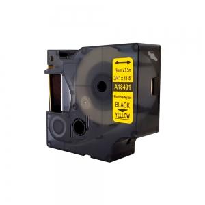 Compatible Flexible Nylon Tape, 19mm x 3,5 m,black on yellow, DYA184913