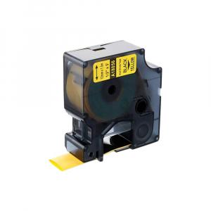 Etichete compatibile tub termocontractibil, DYMO ID1, 12mm x 1.5m, negru/galben, 180560