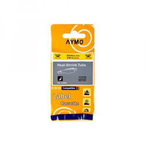 Etichete compatibile tub termocontractibil, DYMO ID1, 9mm x 1.5m, negru/galben, 180545