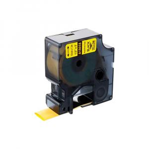 Etichete compatibile tub termocontractibil, DYMO ID1, 19mm x 1.5m, negru/galben, 180580