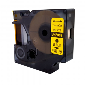 Compatible labels 12mm x 7m, black on yellow, 45018 S0720580-C7