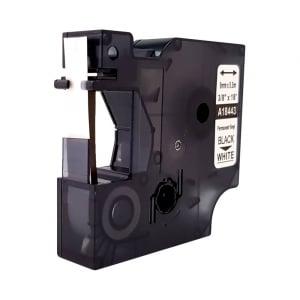 Etichete industriale autocolante compatibile vinil, 9mm x 5.5m, negru/alb, S0718580-C 184436