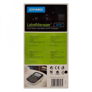 Aparat de etichetat (imprimanta etichete) Dymo LabelManager 500TS, QWERTY, (touchscreen) si 1 banda industriala poliester D1, 12mm x 5.5m, negru/alb, S0946410, 1695918