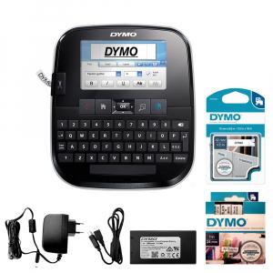 Aparat de etichetat (imprimanta etichete) Dymo LabelManager 500TS, QWERTY, (touchscreen) si 1 banda industriala poliester D1, 12mm x 5.5m, negru/alb, S0946410, 169590
