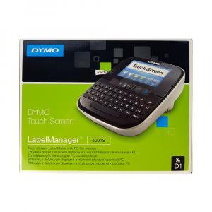 Aparat de etichetat (imprimanta etichete) Dymo LabelManager 500TS, QWERTY, (touchscreen) si 1 caseta etichete profesionale D1, 12mm x 7m, negru/alb, S0946410, 4501317
