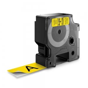 Etichete autocolante plastifiate, DYMO LabelManager D1, 24mm x 7m, negru/galben, 53718 S07209801