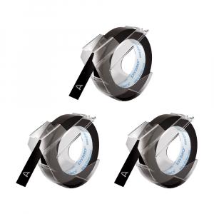 Etichete plastic embosabile DYMO Omega, 9mmx3m, negru, 3buc/set, S08477300