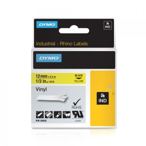 Etichete industriale autocolante, DYMO ID1 vinil, 12mm x 5.5m, negru/galben x 5 buc, 184325