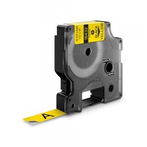 Etichete industriale autocolante, DYMO ID1 vinil, 12mm x 5.5m, negru/galben x 5 buc, 184324