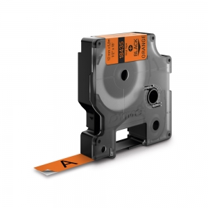 Etichete industriale autocolante, DYMO ID1 vinil, 19mm x 5.5m, negru/portocaliu, 18436 S07185001