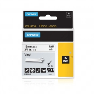 DYMO industrial, All purpose vinyl labels, 19mm x 5.5m, black on white, 18445 S07186205