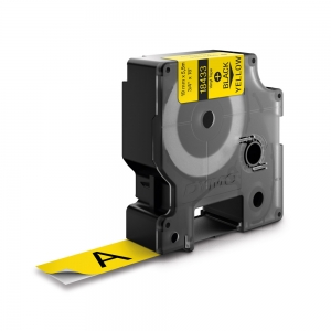 Etichete industriale autocolante, DYMO ID1 vinil, 19mm x 5.5m, negru/galben, 18433 S07184701