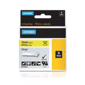 Etichete industriale autocolante, DYMO ID1 vinil, 19mm x 5.5m, negru/galben, 18433 S07184705