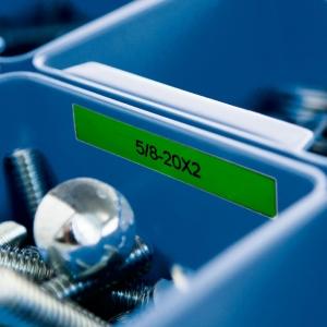 Etichete industriale autocolante, DYMO ID1 vinil, 12mm x 5.5m, alb/verde, 18054142