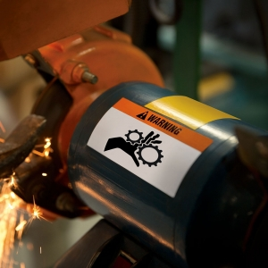 Etichete industriale autocolante, DYMO ID1 vinil, 19mm x 5.5m, negru/portocaliu, 18436 S07185003