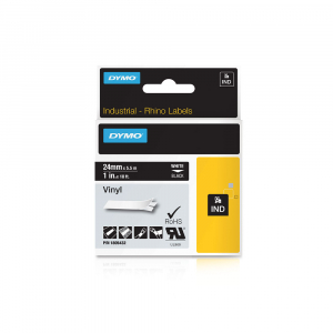 Etichete industriale autocolante, DYMO ID1 vinil, 24mm x 5.5m, alb/negru, 18054324