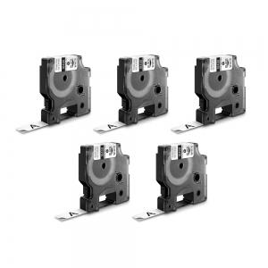 Etichete industriale autocolante, DYMO ID1, nailon flexibil, 12mm x 3.5m, negru/alb x 5 buc, 18488 S07181000