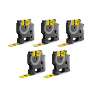 Etichete industriale autocolante, DYMO ID1, nailon flexibil, 12mm x 3.5m, negru/galben x 5 buc, 184900