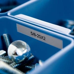 Etichete industriale autocolante, DYMO ID1, poliester permanent, 12mm x 5.5m, negru/argintiu metalizat, 184863
