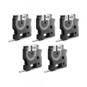 Etichete industriale autocolante, DYMO ID1, poliester permanent, 19mm x 5.5m, negru/alb x 5 buc, 18484 S07182200