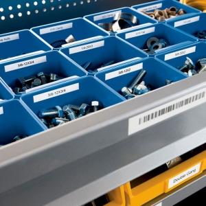 Etichete industriale autocolante, DYMO ID1, poliester permanent, 6mm x 5.5m, negru/alb x 5 buc, 18054423