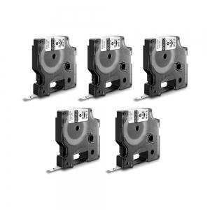 Etichete industriale autocolante, DYMO ID1, poliester permanent, 6mm x 5.5m, negru/alb x 5 buc, 18054420