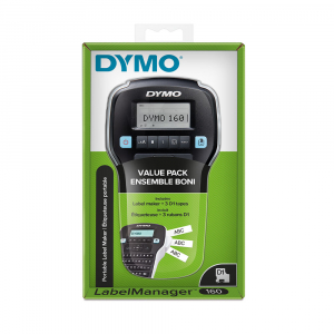 Dymo Labelmanager 160P starter kit, setul include 3 benzi D1 12mm x 7m, negru/alb originale 450138