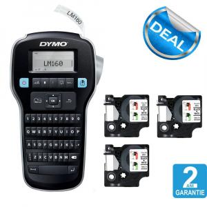 Dymo Labelmanager 160P starter kit, setul include 3 benzi D1 12mm x 7m, negru/alb originale 450131