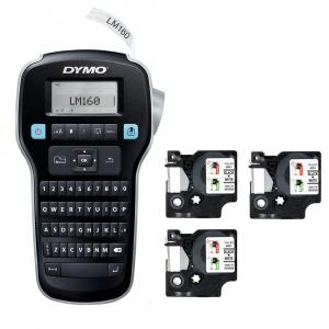Dymo Labelmanager 160P starter kit, setul include 3 benzi D1 12mm x 7m, negru/alb originale 450139