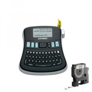 Aparat etichetat (imprimanta etichete) DYMO LabelManager 210D, AZERTY si 1 banda industriala poliester D1, 12mm x 5.5m, negru/alb, S0784460, 169591