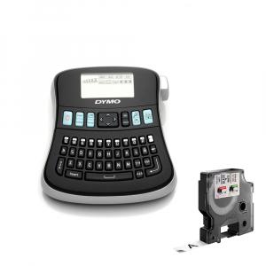 Aparat etichetat (imprimanta etichete) DYMO LabelManager 210D, QWERTY si 1 caseta etichete profesionale D1, 12mm x 7m, negru/alb, S0784460, 450130