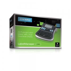 Aparat etichetat (imprimanta etichete) DYMO LabelManager 210D, QWERTY si 1 caseta etichete profesionale D1, 12mm x 7m, negru/alb, S0784460, 4501311