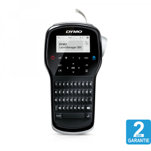 Aparat de etichetat (imprimanta etichete) DYMO LabelManager 280P, AZERTY, conectare la PC S0968950 si 1 banda industriala poliester D1, 12mm x 5.5m, negru/alb, 169598