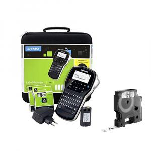 Aparat de etichetat (imprimanta etichete) DYMO LabelManager 280P, QWERTY, kit cu servieta, conectare la PC si 1 banda industriala poliester D1, 12mm x 5.5m, negru/alb, 2091152, 169591
