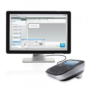 Aparat de etichetat (imprimanta etichete) Dymo LabelManager 500TS, QWERTY, (touchscreen) si 1 banda industriala poliester D1, 12mm x 5.5m, negru/alb, S0946410, 169593