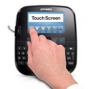 Aparat de etichetat (imprimanta etichete) Dymo LabelManager 500TS, QWERTY, (touchscreen) si 1 banda industriala poliester D1, 12mm x 5.5m, negru/alb, S0946410, 169592