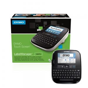 DYMO LabelManager 500TS QWERTY Touch Screen Labeling Machine and 1 Professional Label Tape, 12 mmx7m, black/clear 45010, 94642010