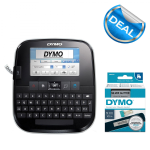 Aparat de etichetat Touch Screen DYMO LabelManager 500TS si 1 caseta etichete profesionale, 12 mmx3m, negru/argintiu, 2084401 S0946420 S09464500