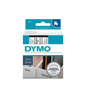 DYMO LabelManager 500TS QWERTY Touch Screen Labeling Machine and 1 Professional Label Tape, 12 mmx7m, black/clear 45010, 94642012