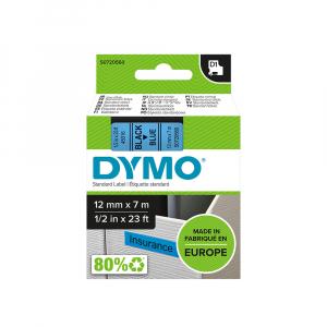 Etichete autocolante, DYMO LabelManager D1, 12mm x 7m, negru/albastru, 45016, S07205606