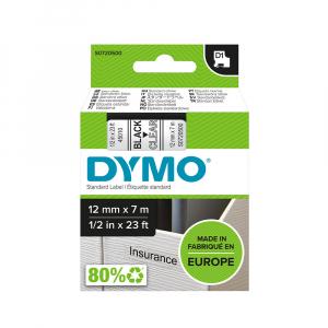 Etichete autocolante, DYMO LabelManager D1, 12mm x 7m, negru/transparent, 45010 S07205007