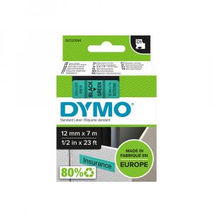 Etichete autocolante, DYMO LabelManager D1, 12mm x 7m, negru/verde, 45019, S07205906