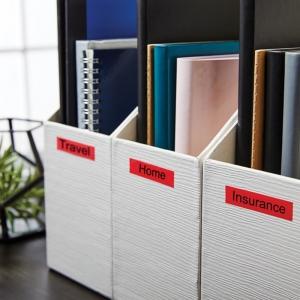 Etichete autocolante, DYMO LabelManager D1, 12mm x 7m, negru/rosu, 45017, S07205702