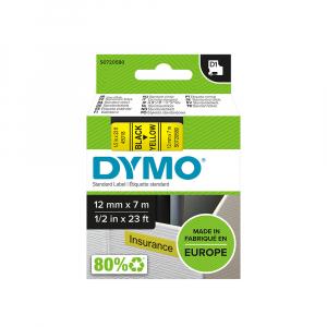 Etichete autocolante, DYMO LabelManager D1, 12mm x 7m, negru/galben, 45018, S07205807