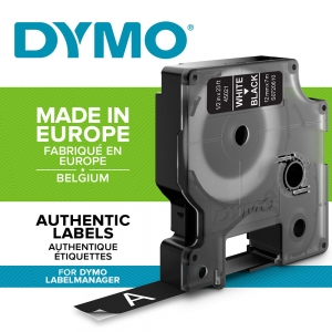 DYMO LabelManager D1 labels, 12mm x 7m, white on black, 45021 S07206101