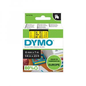 Etichete autocolante, DYMO LabelManager D1, 6mm x 7m, negru/galben, 43618, S07207904