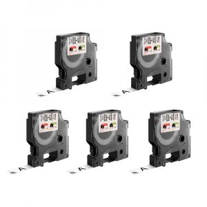 Etichete autocolante, DYMO LabelManager D1, 9mm x 7m, negru/alb, 5 buc/set, 40913, 2093096 S07206800