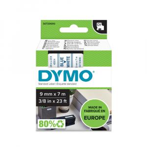 Etichete autocolante, DYMO LabelManager D1, 9mm x 7m, albastru/alb, 40914, S07206905