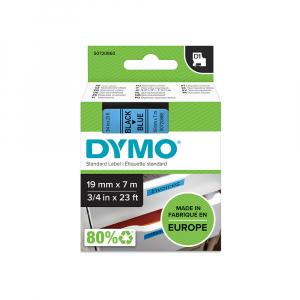 Etichete autocolante plastifiate, DYMO LabelManager D1, 19mm x 7m, negru/albastru, 45806 S07208603