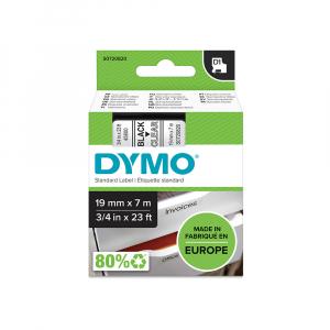 Etichete autocolante plastifiate, DYMO LabelManager D1, 19mm x 7m, negru/transparent, 45800 S07208204
